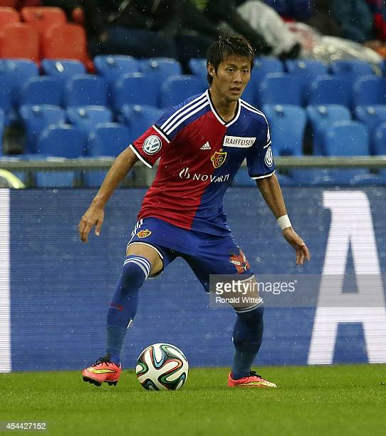 Yoichiro Kakitani of Basel reacts with the ball during the Raiffeisen Super League match between FC Basel and BSC Young Boys Bern at StJakobPark on...