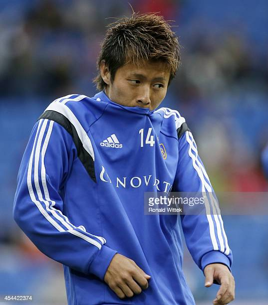 Yoichiro Kakitani of Basel warmsup during the Raiffeisen Super League match between FC Basel and BSC Young Boys Bern at StJakobPark on August 31 2014...