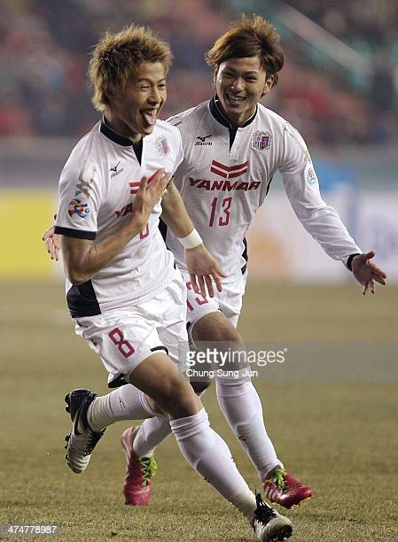 Yoichiro Kakitani of Cerezo Osaka celebrates after score a goal during the AFC Champions League match between Pohang Steelers and Cerezo Osaka at...
