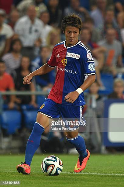 Yoichiro Kakitani of FC Basel in action during the Raiffeisen Super League match between FC Basel and FC Zurich at St JakobPark on August 9 2014 in...