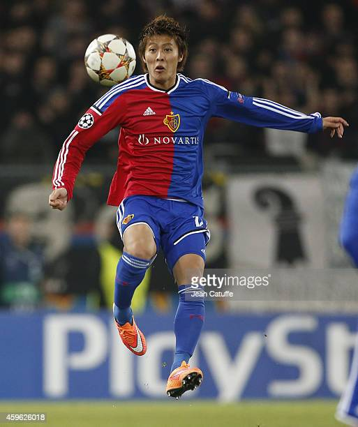 Yoichiro Kakitani of FC Basel in action during the UEFA Champions League Group B match between FC Basel 1893 and Real Madrid CF at St JakobPark...