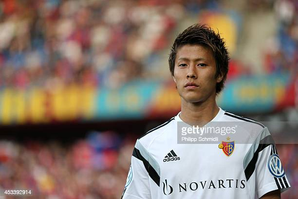 Yoichiro Kakitani of FC Basel looks on prior to the Raiffeisen Super League match between FC Basel and FC Zurich at St JakobPark on August 9 2014 in...