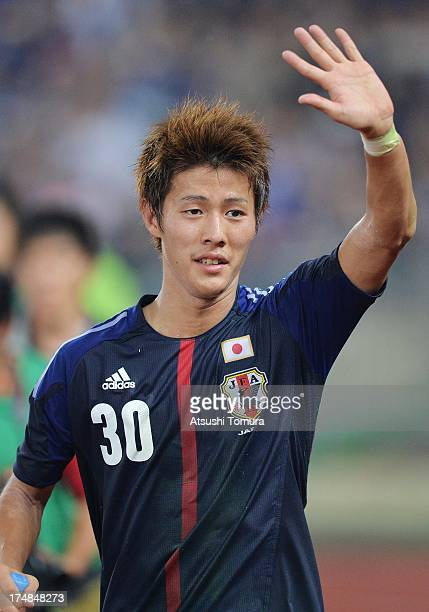 Yoichiro Kakitani of Japan celebrates after the EAFF East Asian Cup match between Korea Republic and Japan at Jamsil Stadium on July 28 2013 in Seoul...