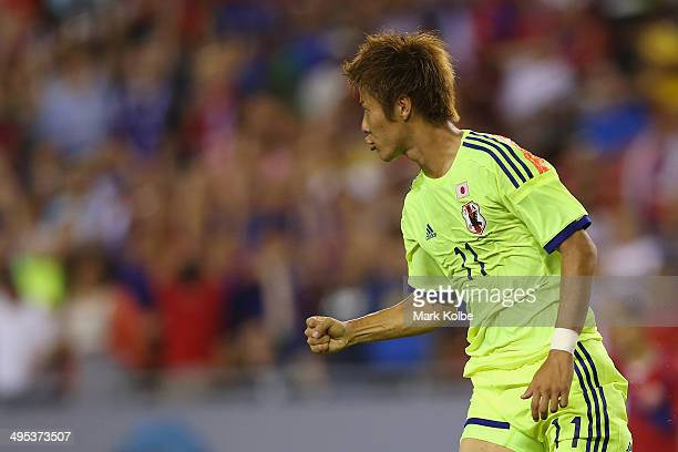 Yoichiro Kakitani of Japan celebrates scoring a goal during the International Friendly Match between Japan and Costa Rica at Raymond James Stadium on...