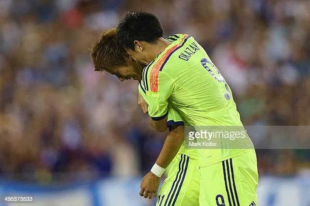 Yoichiro Kakitani of Japan celebrates with Shinji Okazaki after scoring a goal during the International Friendly Match between Japan and Costa Rica...