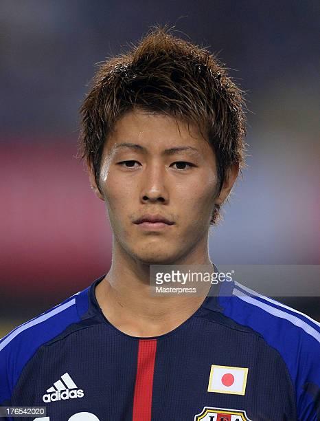 Yoichiro Kakitani of Japan is seen prior to the international friendly match between Japan and Uruguay at Miyagi Stadium on August 14 2013 in Rifu...