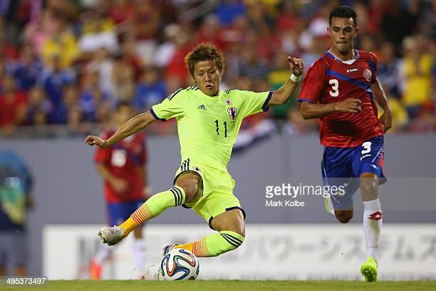 Yoichiro Kakitani of Japan scores a goal during the International Friendly Match between Japan and Costa Rica at Raymond James Stadium on June 2 2014...