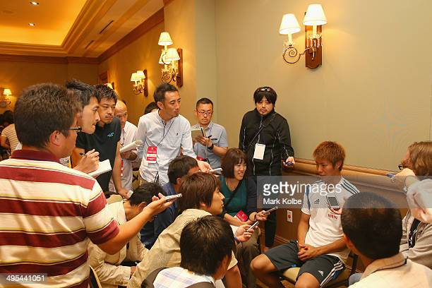 Yoichiro Kakitani of Japan speaks to the press during a media session at the Hyatt Regency Clearwater Beach Resort and Spa on June 3 2014 in...