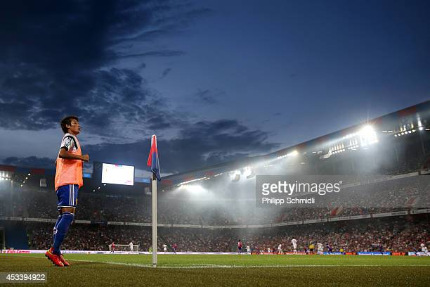 Yoichiro Kakitani warms up during the Raiffeisen Super League match between FC Basel and FC Zurich at St JakobPark on August 9 2014 in Basel...