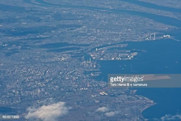 Yokkaichi city, daytime aerial view from airplane