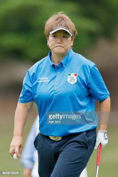 Yoko Inoue of Japan reacts on the 9th hole during the final round of the Yupiteru The Shizuoka Shimbun SBS Ladies at the Shizuoka Country Hamaoka...