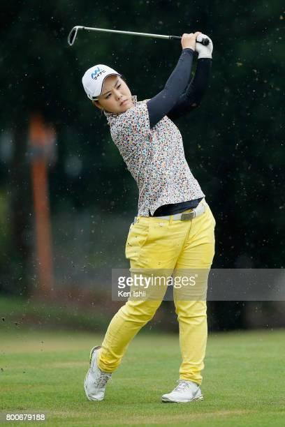 Yoko Ishikawa of Japan hits a second shot on the 18th hole during the final round of the Yupiteru The Shizuoka Shimbun SBS Ladies at the Shizuoka...