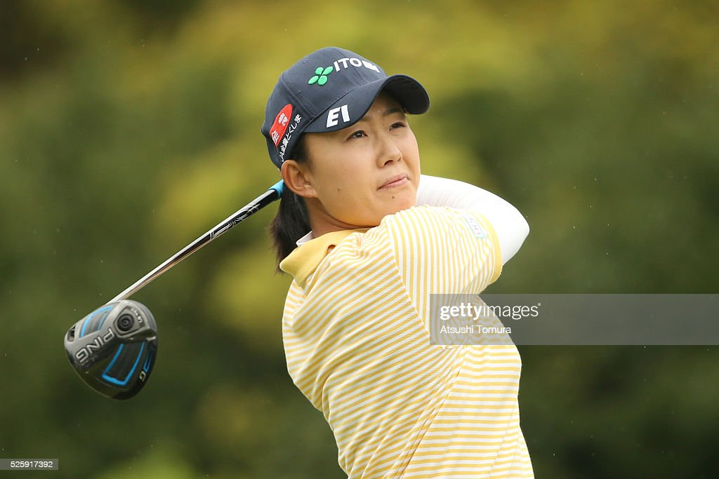 <a gi-track='captionPersonalityLinkClicked' href=/galleries/search?phrase=Yoko+Maeda&family=editorial&specificpeople=13732375 ng-click='$event.stopPropagation()'>Yoko Maeda</a> of Japan hits her tee shot on the 1st hole during the first round of the CyberAgent Ladies Golf Tournament at the Grand Fields Country Club on April 29, 2016 in Mishima, Japan.