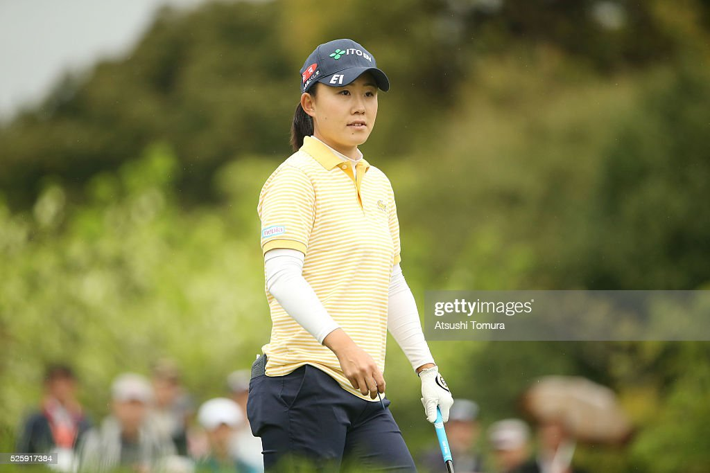 <a gi-track='captionPersonalityLinkClicked' href=/galleries/search?phrase=Yoko+Maeda&family=editorial&specificpeople=13732375 ng-click='$event.stopPropagation()'>Yoko Maeda</a> of Japan looks on during the first round of the CyberAgent Ladies Golf Tournament at the Grand Fields Country Club on April 29, 2016 in Mishima, Japan.