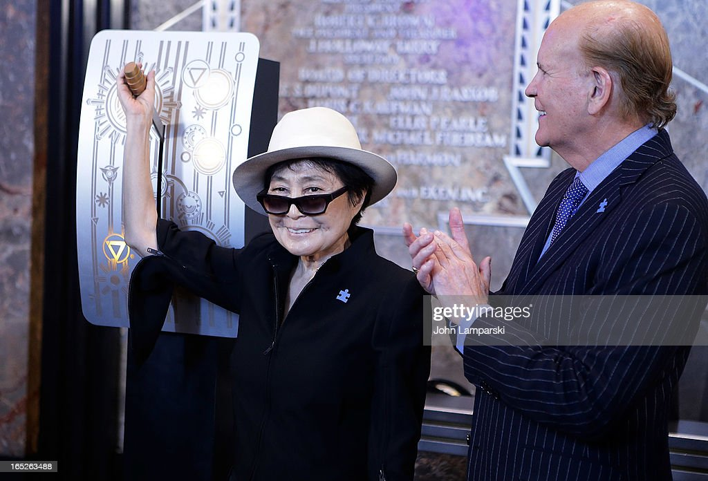 <a gi-track='captionPersonalityLinkClicked' href=/galleries/search?phrase=Yoko+Ono&family=editorial&specificpeople=202054 ng-click='$event.stopPropagation()'>Yoko Ono</a> and <a gi-track='captionPersonalityLinkClicked' href=/galleries/search?phrase=Bob+Wright&family=editorial&specificpeople=215445 ng-click='$event.stopPropagation()'>Bob Wright</a> attend 'World Autism Awareness Day' Celebration at The Empire State Building on April 2, 2013 in New York City.