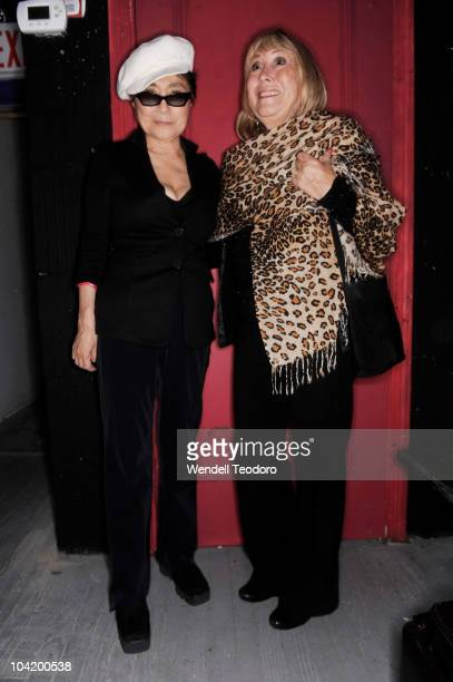 Yoko Ono and Cynthia Lennon attends the 'Timeless' photography exhibition opening party at the Morrison Hotel Gallery on September 16 2010 in New...