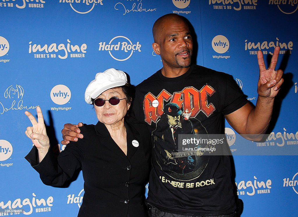 <a gi-track='captionPersonalityLinkClicked' href=/galleries/search?phrase=Yoko+Ono&family=editorial&specificpeople=202054 ng-click='$event.stopPropagation()'>Yoko Ono</a> and Darryl 'DMC' McDaniels (R) attend the 5th annual Imagine There's No Hunger Campaign launch at the Hard Rock Cafe, Times Square on November 19, 2012 in New York City.