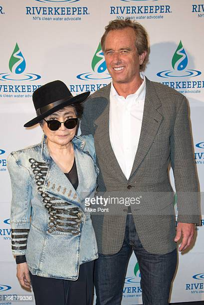 Yoko Ono and Robert F Kennedy Jr attend the 2013 Riverkeeper's Fishermen's Ball at Pier 60 on April 16 2013 in New York City