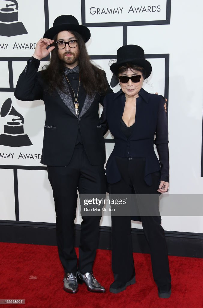 Yoko Ono (R) and Sean Lennon arrive at the 56th Annual GRAMMY Awards at Staples Center on January 26, 2014 in Los Angeles, California.