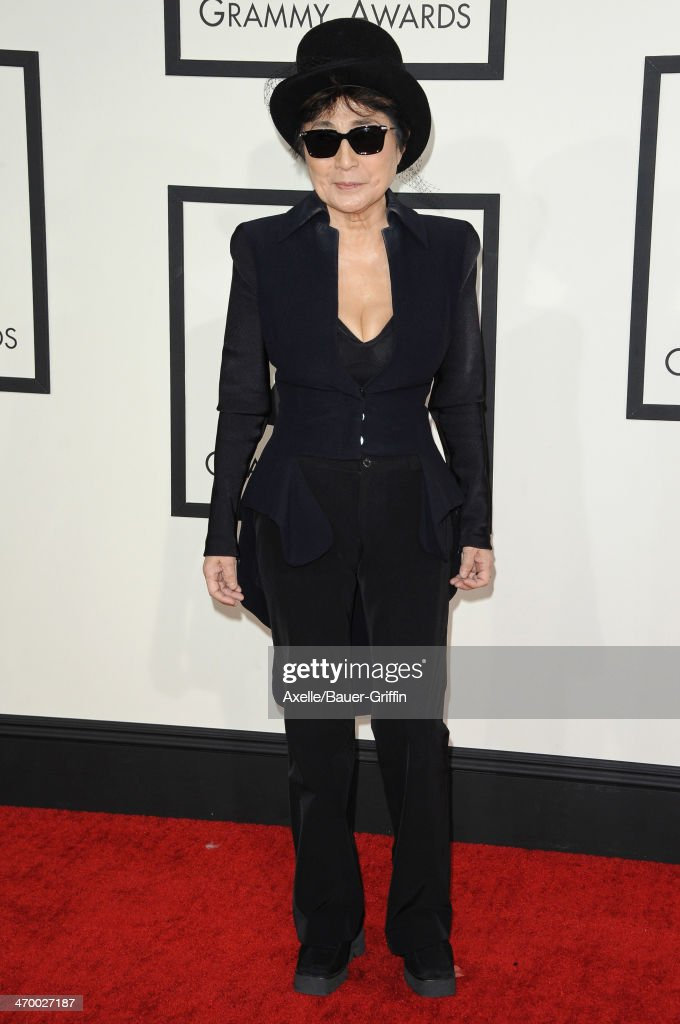 <a gi-track='captionPersonalityLinkClicked' href=/galleries/search?phrase=Yoko+Ono&family=editorial&specificpeople=202054 ng-click='$event.stopPropagation()'>Yoko Ono</a> arrives at the 56th GRAMMY Awards at Staples Center on January 26, 2014 in Los Angeles, California.