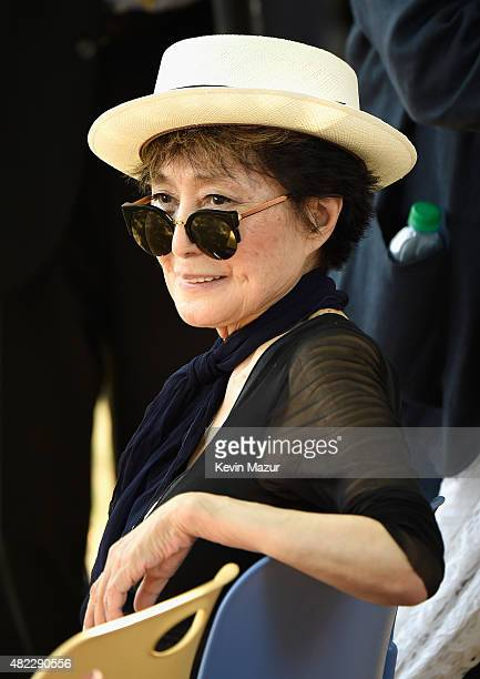 Yoko Ono attends Amnesty International Tapestry Honoring John Lennon Unveiling at Ellis Island on July 29 2015 in New York City