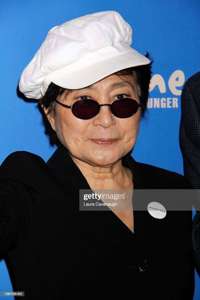 <a gi-track='captionPersonalityLinkClicked' href=/galleries/search?phrase=Yoko+Ono&family=editorial&specificpeople=202054 ng-click='$event.stopPropagation()'>Yoko Ono</a> attends the 5th annual Imagine There's No Hunger Campaign launch at the Hard Rock Cafe, Times Square on November 19, 2012 in New York City.