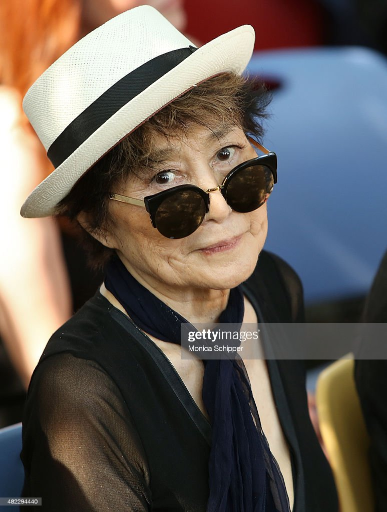 <a gi-track='captionPersonalityLinkClicked' href=/galleries/search?phrase=Yoko+Ono&family=editorial&specificpeople=202054 ng-click='$event.stopPropagation()'>Yoko Ono</a> attends the Amnesty International Tapestry Honoring John Lennon Unveiling at Ellis Island on July 29, 2015 in New York City.