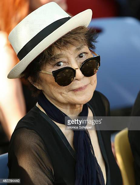 Yoko Ono attends the Amnesty International Tapestry Honoring John Lennon Unveiling at Ellis Island on July 29 2015 in New York City