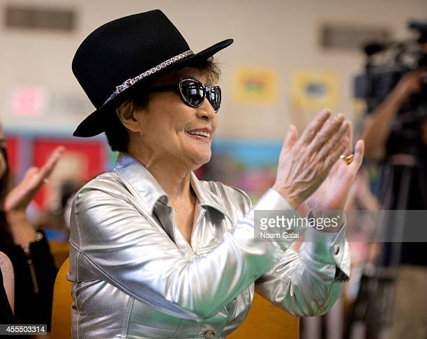 Yoko Ono attends the John Lennon Educational Tour Bus Event at PS 171 Patrick Henry School on September 15 2014 in New York City