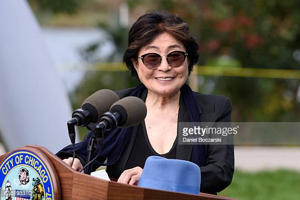 Yoko Ono attends the Project 120 Skylanding art installation unveiling at Jackson Park on October 17 2016 in Chicago Illinois