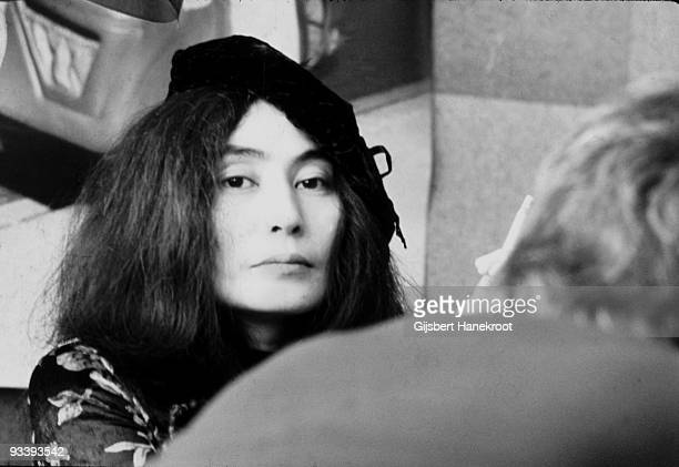 Yoko Ono in Selfridges department store Oxford Street London in 1971 to promote the publication of the 2nd edition of her book Grapefruit