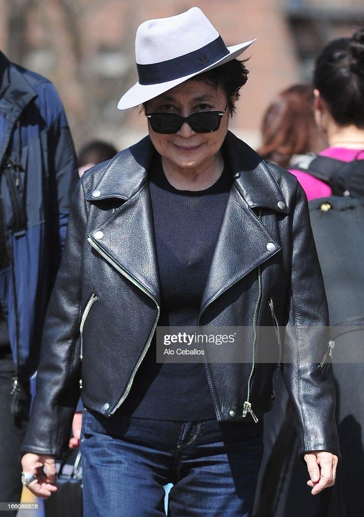 Yoko Ono is seen in Soho on April 8, 2013 in New York City.