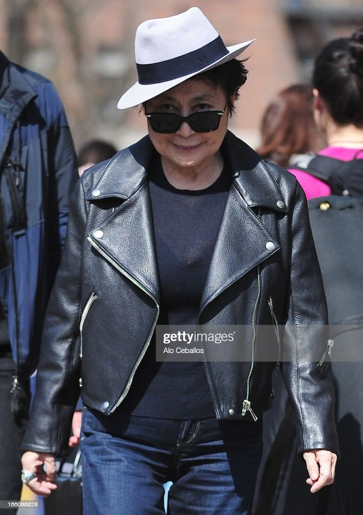 Yoko Ono is seen in Soho on April 8, 2013 in New York City.