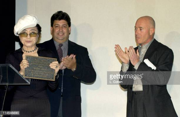 Yoko Ono Paul Schimmel and David Geffen during MOCA Award to Distinguished Women in the Arts Luncheon Honoring Yoko Ono at Regent Beverly Wilshire...