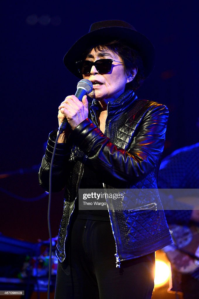 <a gi-track='captionPersonalityLinkClicked' href=/galleries/search?phrase=Yoko+Ono&family=editorial&specificpeople=202054 ng-click='$event.stopPropagation()'>Yoko Ono</a> performs onstage at the Amnesty International Concert presented by the CBGB Festival at Barclays Center on February 5, 2014 in New York City.