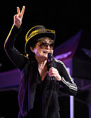 Yoko Ono performs onstage with the Plastic Ono Band during Modern Sky Festival at Rumsey Playfield on October 4 2015 in New York City