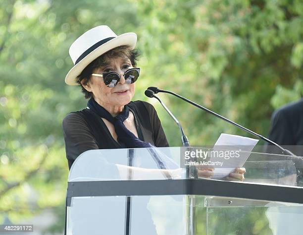 Yoko Ono speaks at Amnesty International Tapestry Honoring John Lennon Unveiling at Ellis Island on July 29 2015 in New York City