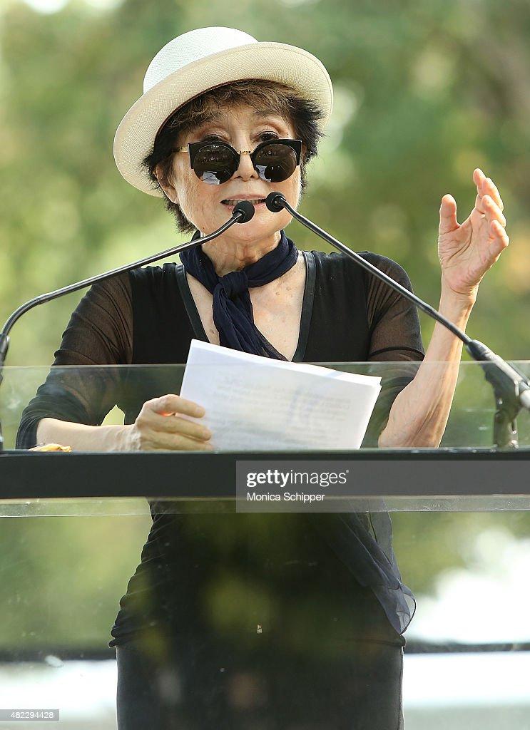 Yoko Ono speaks at the Amnesty International Tapestry Honoring John Lennon Unveiling at Ellis Island on July 29, 2015 in New York City.