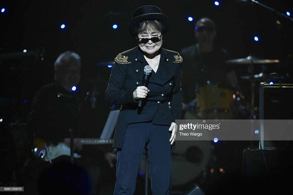 Yoko Ono speaks on stage during the Imagine: John Lennon 75th Birthday Concert at The Theater at Madison Square Garden on December 5, 2015 in New York City.