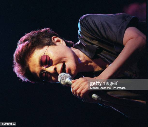 Yoko Ono the widow of former Beatle John Lennon performing gone of her songs on the stage at London's Astoria Theatre * 2/7/01 Yoko Ono was receiving...