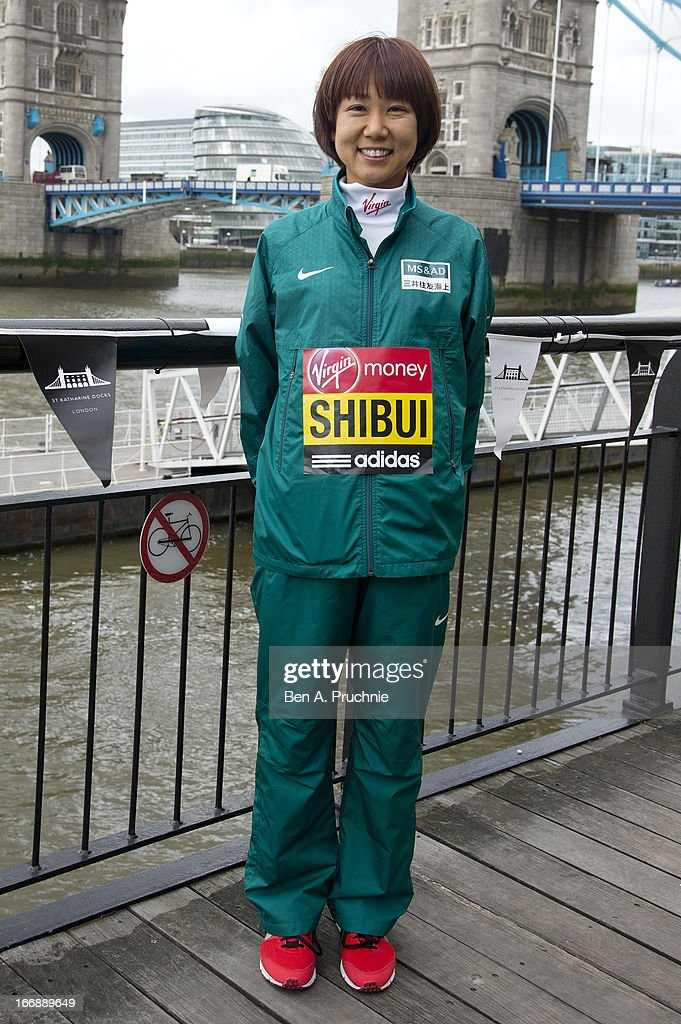 Yoko Shibui attends the photocall for International Women photocall ahead of The the London Marathon at The Tower Hotel on April 18, 2013 in London, England.
