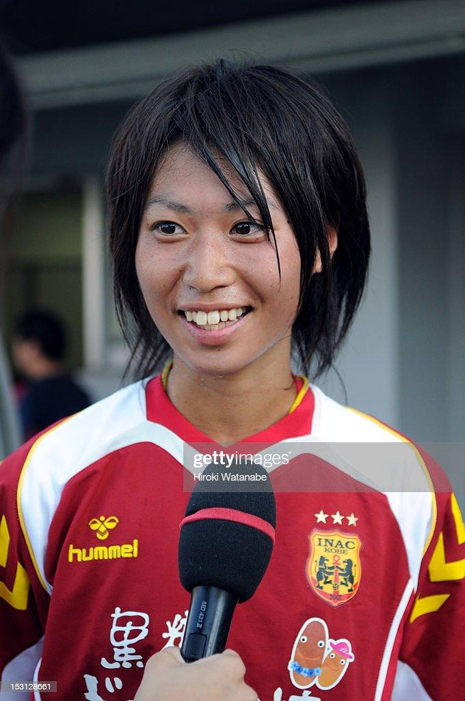 <a gi-track='captionPersonalityLinkClicked' href=/galleries/search?phrase=Yoko+Tanaka&family=editorial&specificpeople=7174494 ng-click='$event.stopPropagation()'>Yoko Tanaka</a> of INAC Kobe Leonessa is interrviewd after the Nadeshiko League match between AS Elfen Sayama and INAC Kobe Leonessa at NACK 5 Stadium Omiya on September 30, 2012 in Saitama, Japan.