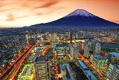View of Yokohama and Mt. Fuji in Japan.