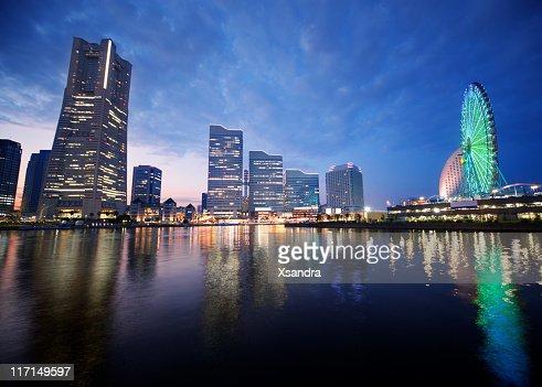 Yokohama at sunset : Stock Photo