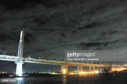 Yokohama Bay Bridge night view from ship