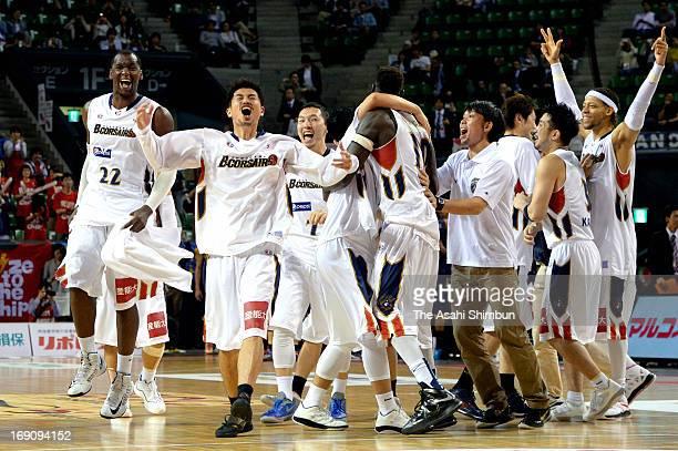Yokohama BCorsairs celebrate winning the bj League playoff final between Yokohama BCorsairs and Rizing Fukuoka at Ariake Colosseum on May 19 2013 in...