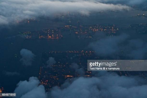 Yokohama factory area, night aerial view from airplane