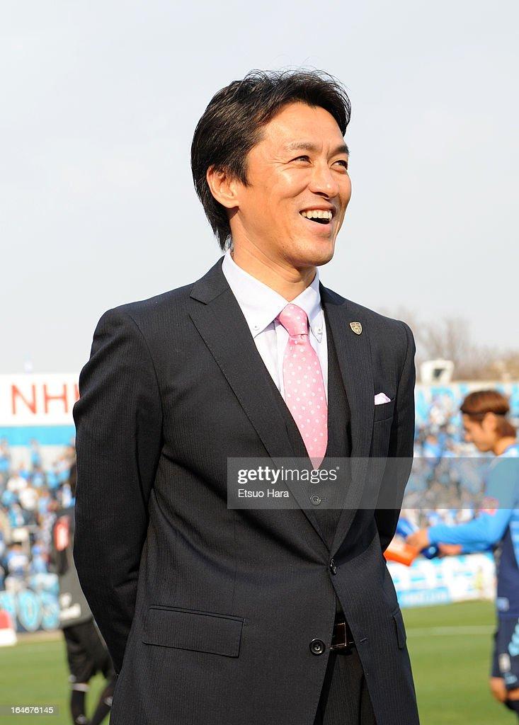 Yokohama FC Head coach Motohiro Yamaguchi looks on after the J.League Second Division match between Yokohama FC and Fagiano Okayama at Nippatsu Mitsuzawa Stadium on March 24, 2013 in Yokohama, Japan.