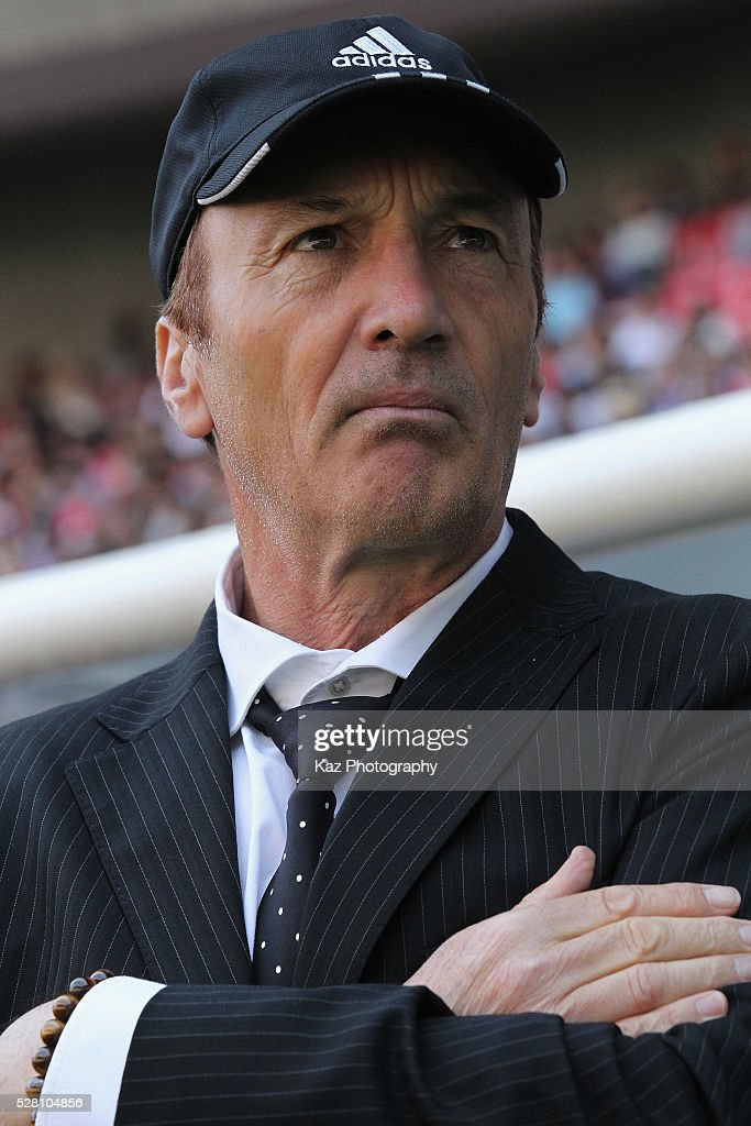 Yokohama F.Marinos head coach Erick Mombaerts looks on prior to the J.League match between Nagoya Grampus and Yokohama F.Marinos at the Toyota Stadium on May 4, 2016 in Toyota, Aichi, Japan.