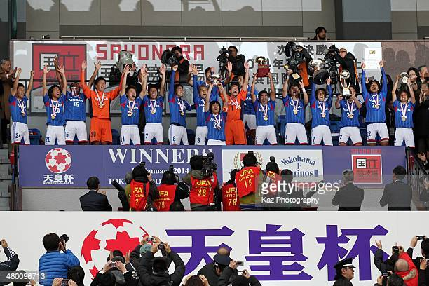 Yokohama FMarinos players celeberate the win after the 93rd Emperor's Cup final between Yokohama FMarinos and Sanfrecce Hiroshima at the National...